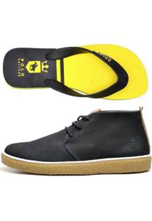 Kit Bota + Chinelo Top Franca Shoes Masculino - Masculino-Marinho