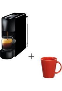Cafeteira Nespresso Essenza Preto C30-Br - 110V + Canecas Basic Em Ceramica 04 Pecas Vermelho - Porto Brasil
