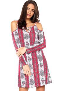 Kanui. Vestido Fiveblu Curto Estampado Rosa Branco ffac37ed3a6de
