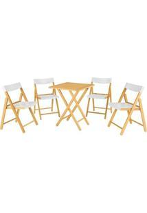Jogo Mesa E 4 Cadeiras Tramontina Potenza 10630031 Dobrável Branco