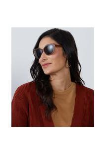 Amaro Feminino Óculos De Sol Gatinho Angular Oval Acetato Reciclado, Caramelo