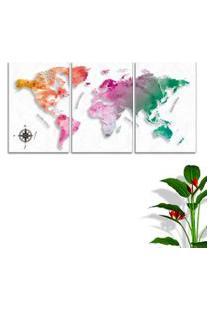 Quadro Oppen House Mapa Mundi Cororido 60X120Cm Decoraçáo Escritórios Salas Empresas