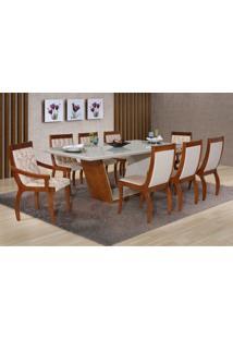 Conjunto Mesa De Jantar Luna 2,20M Com 8 Cadeiras Imbuia/Off White Liso Bege/290 E Floral Bege 290 Mobillare, Decorações Móveis