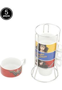 Jogo Xícaras De Café 5Pçs Porcelana Cappuccino Wonder Woman Colorido 11X9X21Cm 225Ml Urban