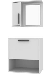 Conjunto De Gabinete De Banheiro E Armário Aéreo Basqui Branco