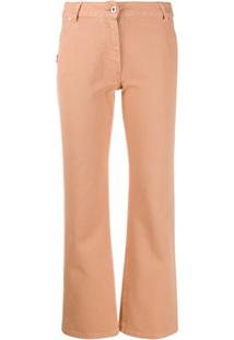 Off-White Calça Jeans Cropped Com Bordado - Rosa