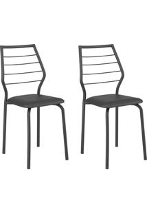 Conjunto 2 Cadeiras 1716 Casual Napa Preto Preto