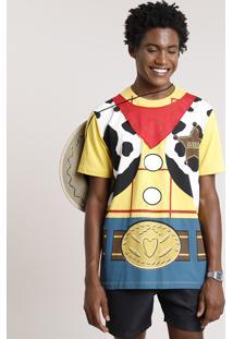 Camiseta Masculina Carnaval Woody Toy Story Manga Curta Gola Careca Amarela