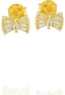 Brinco Pequeno Laço Zircônia Semi Joia - Feminino-Dourado