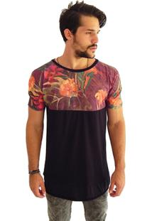 T-Shirt Wosmock Half Alongada - Feminino-Preto