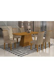 Conjunto De Mesa Lunara Iii 180 Cm Com 6 Cadeiras Suede Amassado Imbuia E Chocolate