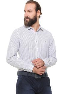 Camisa Richards Reta Listrada Azul/Branca