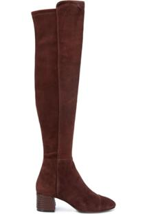Tory Burch Bota Over The Knee 'Nina' De Camurça - Marrom