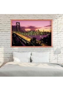 Quadro Love Decor Com Moldura San Francisco Night Rose Metalizado Grande