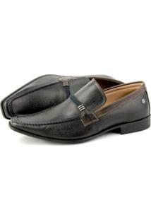 Sapato Couro Perlatto Recortes Preto/Marrom
