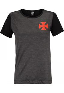 Camiseta Do Vasco Da Gama Line Feminina - Preto