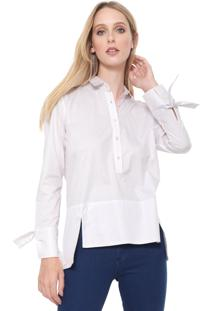 Camisa Calvin Klein Listrada Amarração Rosa