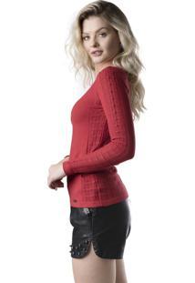 Blusa Modal Jéssi Malhas Tricô Com Detalhes Rendados - Vermelha