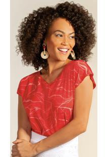 Blusa Com Decote V Estampada Vermelho