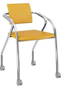Cadeira Com Rodízios 1713 Cromada Napa/Amarelo Ouro Carraro
