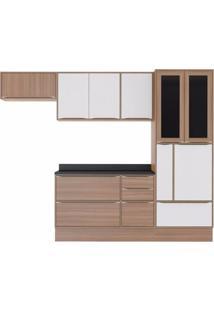 Cozinha Completa 7 Peças 10 Portas Calábria Multimóveis Nogueira/Branco Texturizado