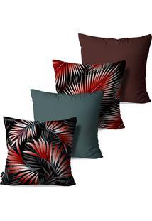 Kit Com 4 Capas Para Almofadas Pump Up Decorativas Folhas Vermelhas Fundo Preto 45X45Cm