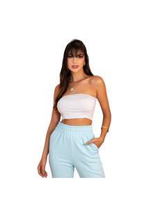 Calça Feminina Moletom Jogger Slim Básica Moda Inverno 2021 Azul Claro
