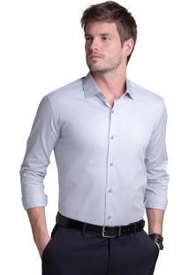 Camisa Buckman Social Maniqueta Falso Liso Cinza