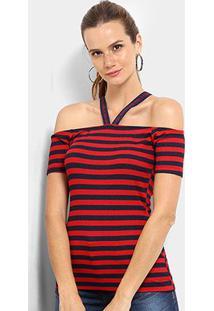 Blusa Triton Canelada Estampada Feminina - Feminino-Azul+Vermelho