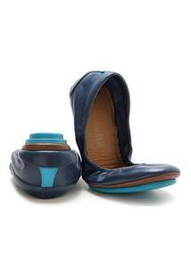 Sapatilha Bailarina Feminina Couro Legítimo Keston - 46001- Colorido Azul