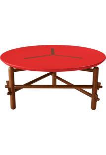 Mesa De Centro Twist Cacau E Vermelho
