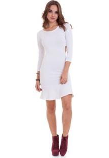 Vestido Manola Manga 3/4 - Feminino-Branco