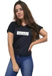 Camiseta Feminina Gola V Cellos To Life Premium Preto