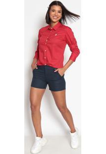 Camisa Poã¡ Bordada- Vermelha & Brancaus Polo