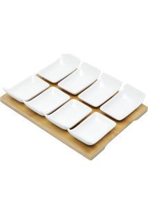Conjunto 8 Petisqueiras De Porcelana Com Tábua 25X21X4Cm -Bon Gourmet - Branco