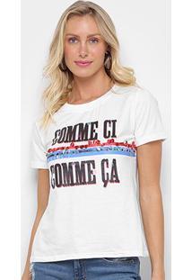 Camiseta Eagle Rock Comme Ci Paetês Feminina - Feminino-Branco