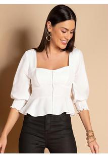 Blusa Branca Decote Coração E Mangas Bufantes