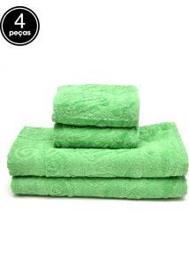 Jogo De Banho 4Pçs Atlântica Sensação Fiore Verde