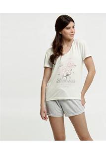 Conjunto De Pijama Marisa Estampa Flores Feminino - Feminino-Bege Claro