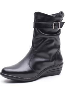 Bota Bico Fino Cano Curto Anabela Em Couro Trivalle Shoes Preto - Kanui