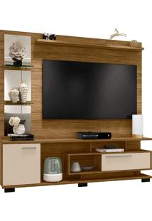 Estante Home New Tucson P/ Tv De Até 60 Polegadas C/ Espelhos Cinamomo/Off-White Moveis Bechara