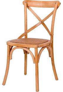 Cadeira Paris De Madeira Carvalho Americano Sem Braço Com Assento De Rattan