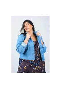 Jaqueta Delavê Cropped Plus Size Jeans Blue Jaqueta Delavê Cropped Plus Size Jeans Blue M Kaue Plus Size