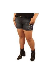 Shorts Jeans True E-Motion Lithiun Lavagem Stone Destroyed Azul