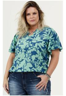 Blusa Feminina Estampa Floral Plus Size Manga Curta