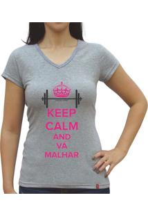 Camiseta Baby Look Casual Sport Keep Calm And Vá Malhar Cinza