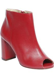 Ankle Boot Em Couro - Vermelha - Salto: 9Cmcapodarte