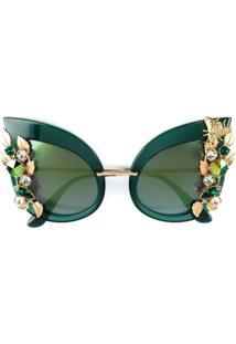 ... Dolce   Gabbana Eyewear Óculos De Sol Com Cristais Swarovski - Green 1b4e2e081c
