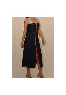 Vestido Midi Jeans Feminino Sixty Four Jeans Bruna Azul Escuro