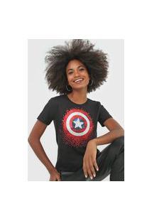 Blusa Cativa Marvel Capitão América Preta